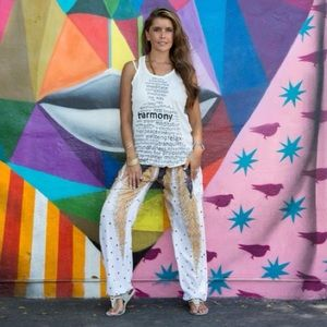 Peacock Feathers Women's Harem Pants in White
